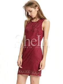 Burgundy Sleeveless Hollow Dress