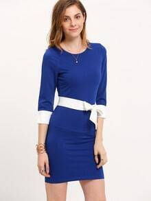 Blue Magaschoni Long Sleeve Color Block Bodycon Dress
