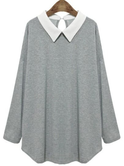 Grey Contrast Collar Long Sleeve T-Shirt