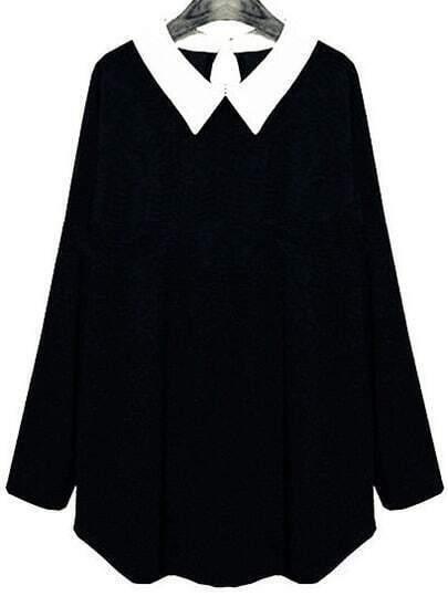 Black Contrast Collar Long Sleeve T-Shirt