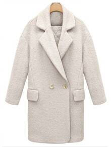 White Lapel Pockets Woolen Coat