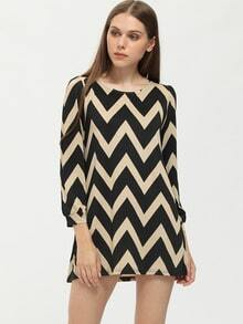 Color-block Long Sleeve Zigzag Dress