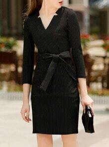 Black V Neck Vertical Striped Belt Dress