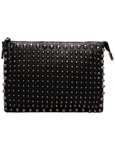 Black Zipper Studded Clutch Bag