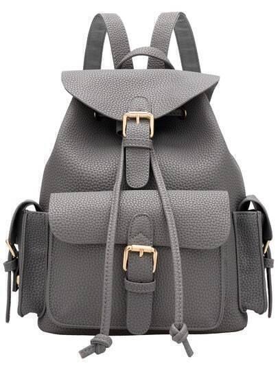 Grey Drawstring Belt Buckle PU Backpacks