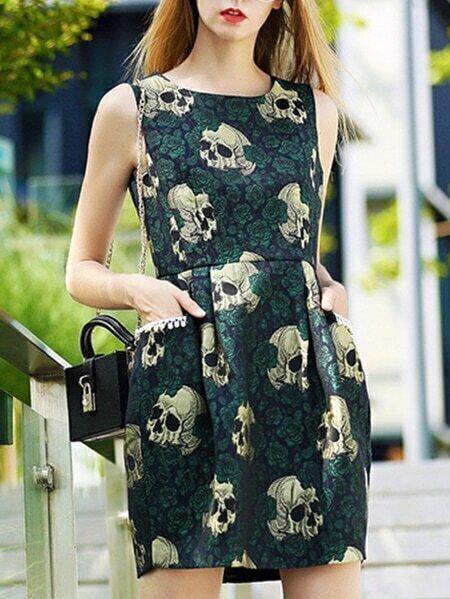 Green Round Neck Sleeveless Jacquard Pockets Dress