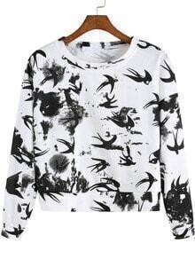 Black White Round Neck Patterned Birds Print Crop Sweatshirt
