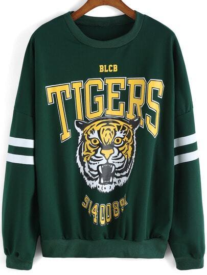 Sweat-shirt décontracté col rond motif tigre -vert