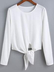 White Round Neck Knotted Crop Blouse