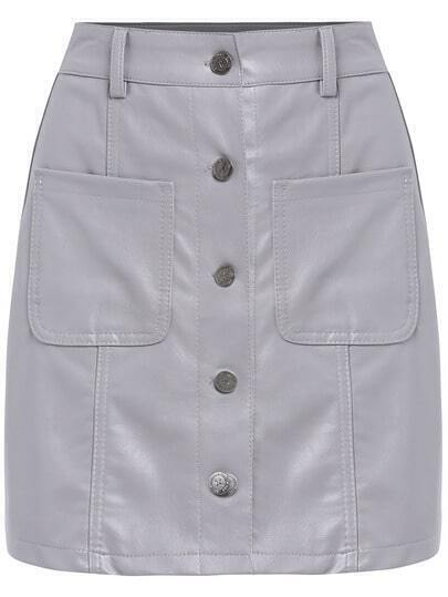 Grey Single Breasted Pockets Skirt