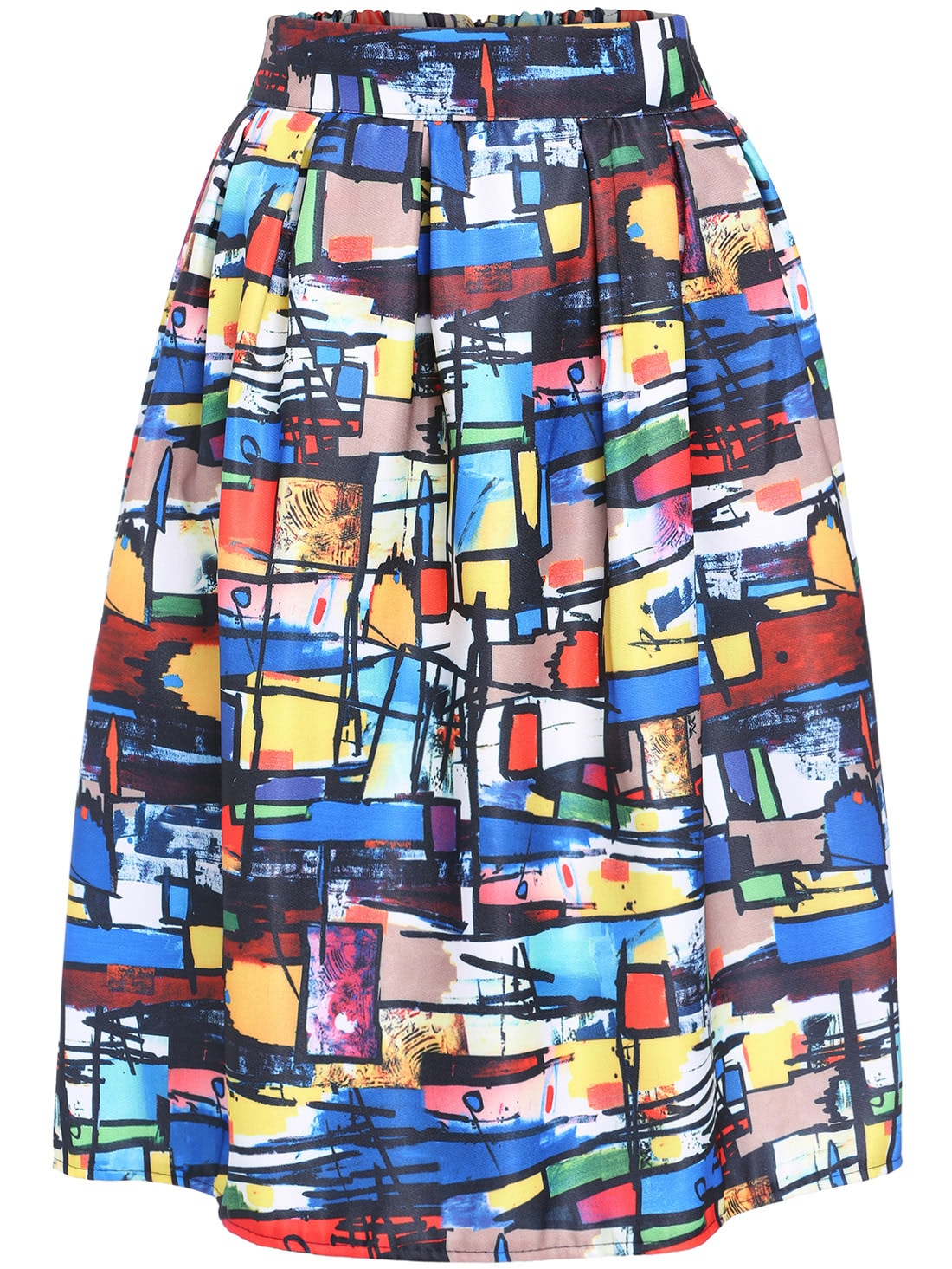 Multicolor Graffiti Print Midi Skirt -SheIn(Sheinside)