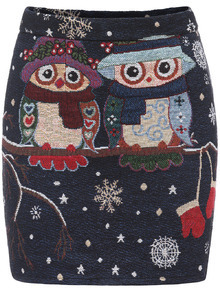 Multicolor Slim Owl Print Bodycon Skirt
