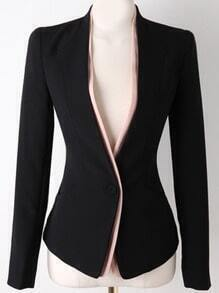 Black Long Sleeve Single Button Slim Blazer