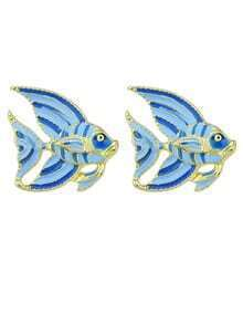 Blue Enamel Small Cute Fish Shape Stud Daily Wear Earrings