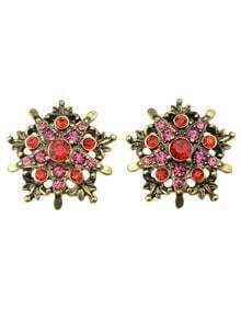 Vintage Style Red Rhinestone Flower Shape Clip On Earrings