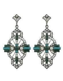 Beautiful Green Stone Long Haging Stud Earrings