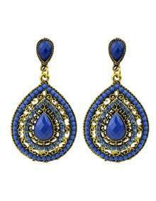 Beads Blue Fashion Design Hanging Earrings