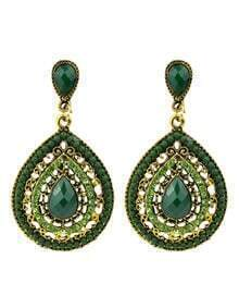Beads Green Fashion Design Hanging Earrings