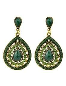 Beads Green Hanging Earrings