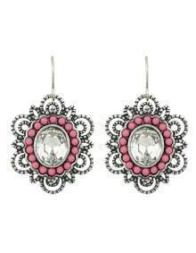 Vintage Style Pink Rhinestone Long Drop New Design Earrings
