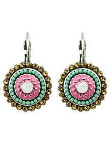 Colorful Beads Round Clip On Earrings