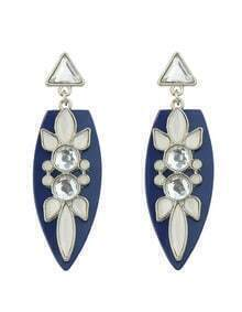 Flower Water Drop Crystal Blue Earrings