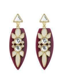 Flower Water Drop Crystal Red Earrings
