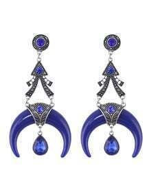 Antique Design Resin and Rhinestone Drop Moon Blue Earrings