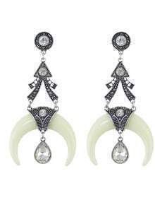 Antique Design Resin and Rhinestone Drop Moon White Earrings