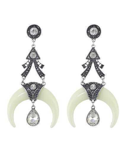 Rhinestone Drop Moon White Earrings