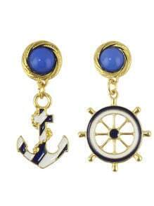 Enamel Helm Anchor Earrings