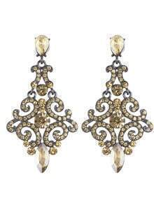 Beautiful Bohemian Aulic Design Champagne Rhinestone Women Long Earrings