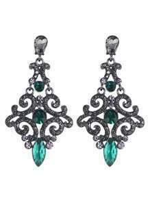 Beautiful Bohemian Aulic Design Green Rhinestone Women Long Earrings