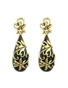 Aulic Style Black Gemstone Long Earrings Woman