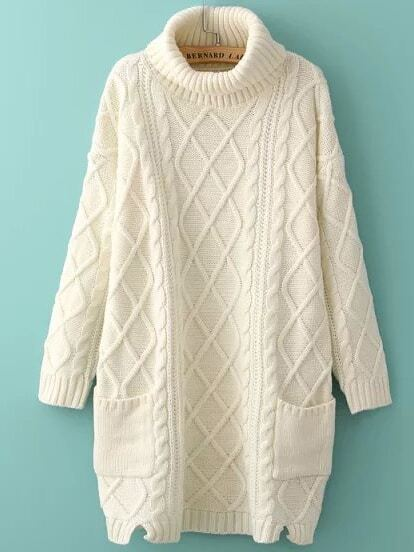 Beige High Neck Diamond Patterned Pockets Sweater