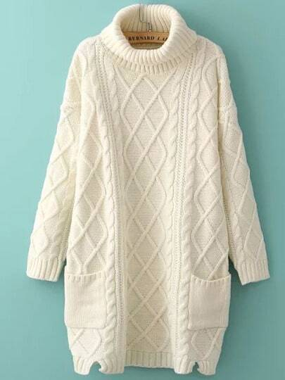 Beige High Neck Diamond Patterned Pockets Sweater