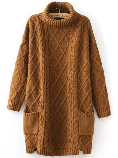 Khaki High Neck Diamond Patterned Pockets Sweater