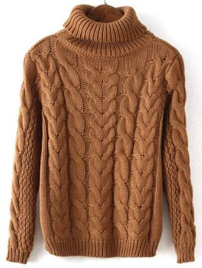 Khaki High Neck Cable Knit Crop Sweater