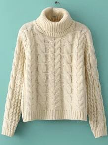 Beige High Neck Cable Knit Crop Sweater