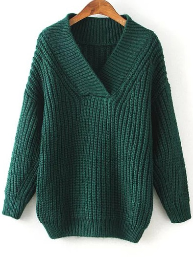 Green V Neck Chunky Loose Sweater