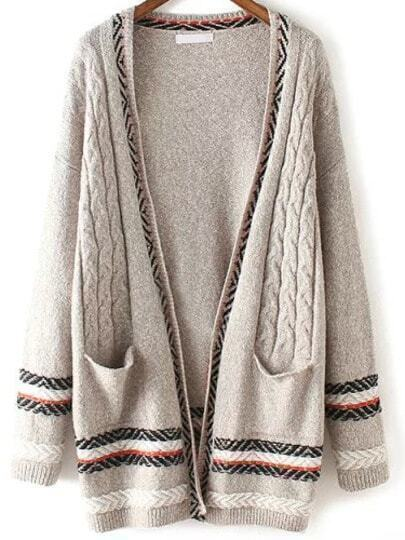 Grey Pockets Cable Knit Casual Cardigan