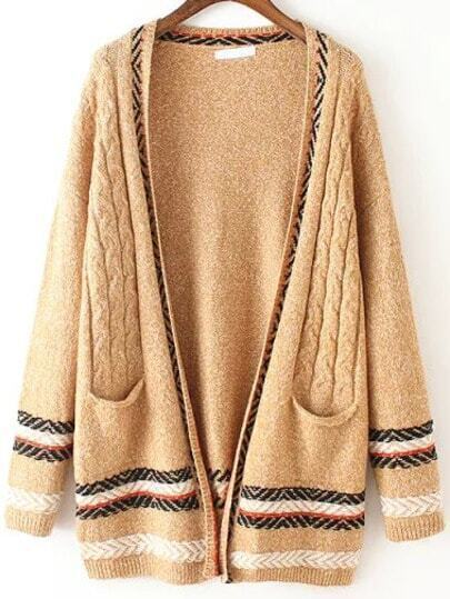Khaki Pockets Cable Knit Casual Cardigan