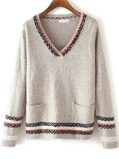 Grey V Neck Tribal Print Pockets Sweater