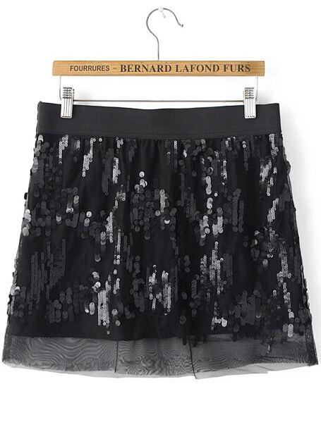 Black Sequined Sheer Mesh Skirt