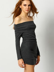 Grey Long Sleeve Off The Shoulder Ruched Bodycon Dress