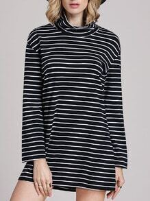 Black White Long Sleeve Chambray Stripy Fringes Stria Mock Neck Allure Decent Striped Dress