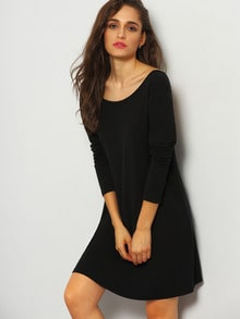 Black Long Sleeve V Back Dress