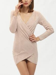 Nude Beige Long Sleeve V Neck Wrapover Bodycon Dress