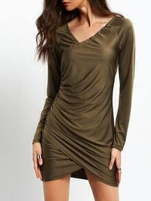 Army Green Rribbed Glamorous Wrinkle Long Sleeve Ruched Wrapover Bodycon Dress