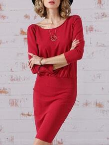 Rose Red Half Sleeve Elegantly V Back Dress